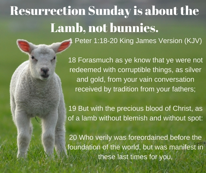 Resurrection Sunday is about the Lamb, not bunnies.